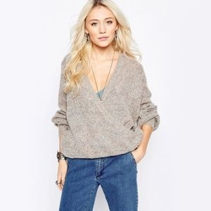 *free people* Karina Slouchy Wrap Front Sweater sm